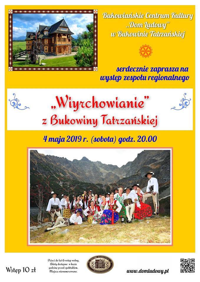 """Występ zespołu regionalnego """"Wiyrchowianie"""" z Bukowiny Tatrzańskiej 4 maja"""