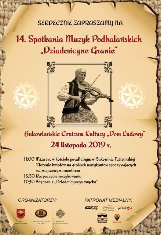 14 Spotkanie Muzyk Podhalańskich Dziadońcyne Granie - plakat