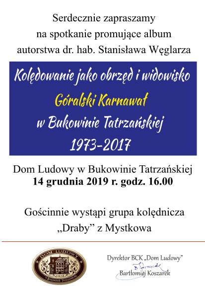 """Promocja albumu """"Kolędowanie, jako obrzęd i widowisko"""" - Zaproszenie 2"""