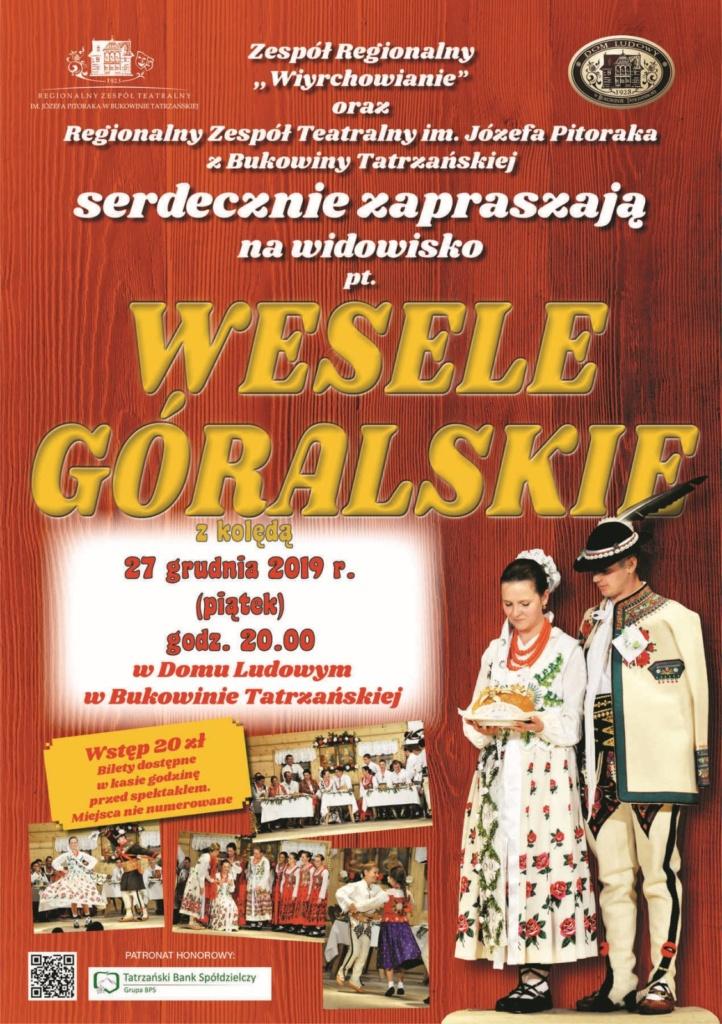 Wesele Góralskie z kolędą 27.12.2019r. - plakat