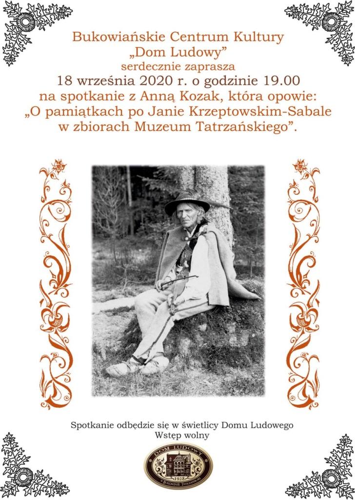 Pamiątki po Janie Krzeptowskim – Sabale w zbiorach Muzeum Tatrzańskiego - plakat