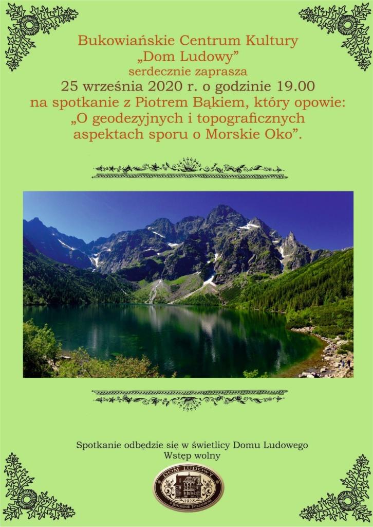 Piotr Bąk - Geodezyjne i topograficzne aspekty sporu o Morskie Oko - plakat