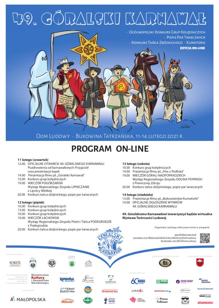 Plakat 49. Góralski Karnawał on-line w Bukowinie Tatrzańskiej